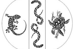 Tribal tattoo image layout for wood staining art on table
