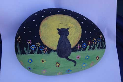 Rock Painting-Cat-Moon-The-Creative-Patch